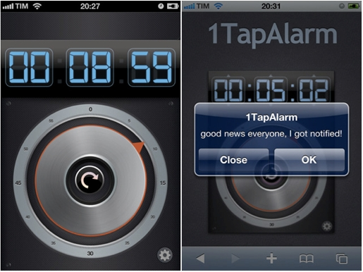 1tapalarm 1TapAlarm, un bellissimo timer gratuito per iPhone