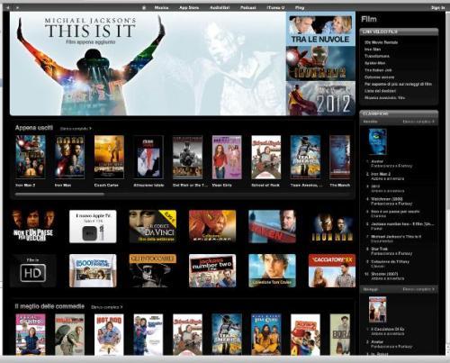 iTunesStore film 001 500x403 iTunes Store: Apple attiva la possibilità di acquistare/noleggiare film italiani, Apple TV in arrivo a 119 Euro