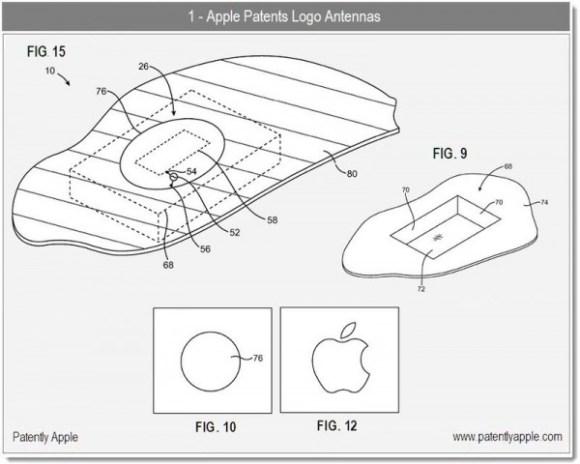 apple antenna logo 580x464 Secondo un brevetto Apple vuole trasformare il logo della mela in unantenna