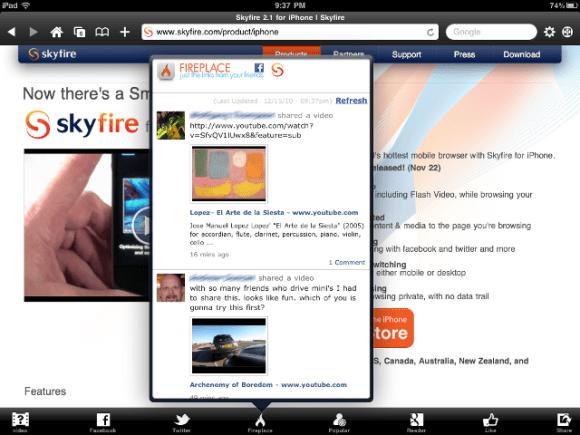 skyfire ipad 0001 580x435 SkyFire da oggi è disponibile anche su iPad al prezzo di 3,99 Euro