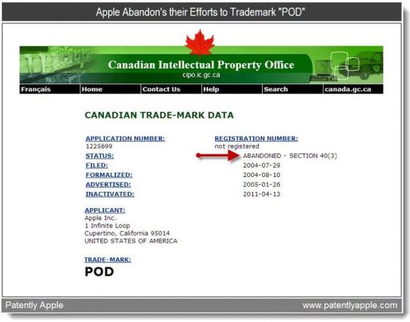 CIPO POD Mark 580x455 Apple abbandona il marchio POD