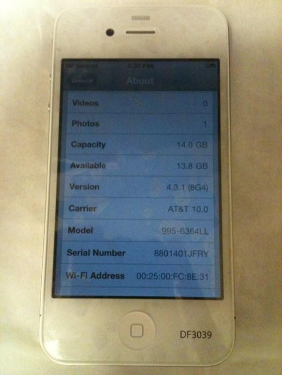IMG 1541 580x773 Il prototipo di un iPhone 4 bianco viene messo in vendita su eBay