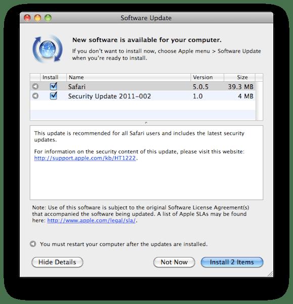 Screen shot 2011 04 14 at 1.27.27 PM Giornata di aggiornamenti per Apple: sono disponibili iOS 4.3.2, Safari 5.05 e il Security Update 2011 02