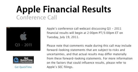 financial 580x302 Il 19 Luglio Apple presenterà i risultati del terzo trimestre fiscale 2011
