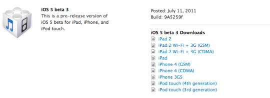 Screen Shot 2011 07 11 at 7.29.52 PM 540x197 Apple rilascia iOS 5 Beta 3, iTunes 10.5 beta 3 e iCloud beta 4