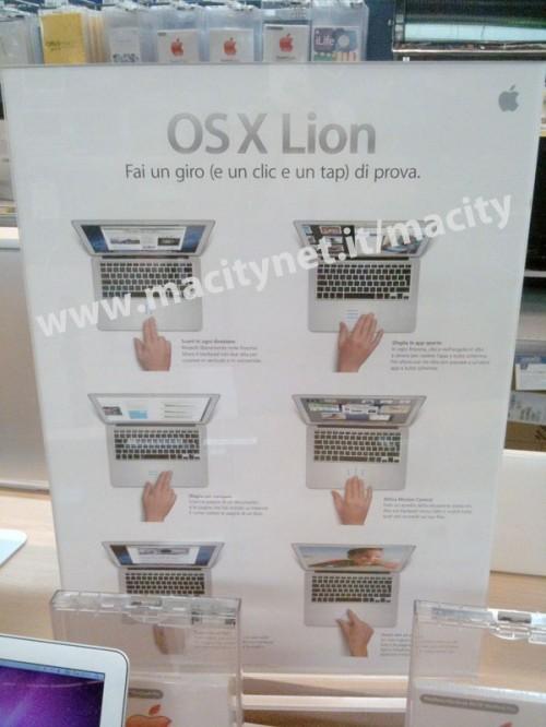 lion gesture promo euronics 500x666 Alcuni negozi italiani si preparano al lancio di Mac OS X Lion