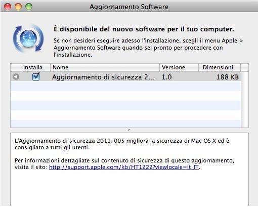 Aggiornamento software Disponibile laggiornamento di sicurezza per Mac OS X