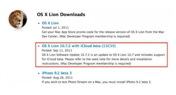 Lion OS X 10.7.2 580x314 Apple rilascia per gli sviluppatori Lion OS X 10.7.2 con iCloud integrato