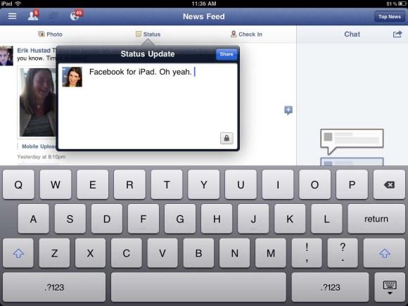 facebook ipad 04 580x435 Lapplicazione ufficiale di Facebook per iPad verrà annunciata al prossimo evento Apple?