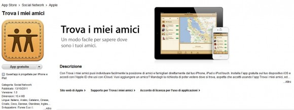 Cattura1 580x218 Problemi di privacy per la nuova applicazione di Apple Find My Friends