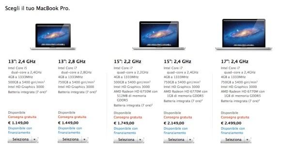 Schermata 10 2455859 alle 15.24.17 580x311 Nello Store on line sono disponibili i nuovi MacBook Pro