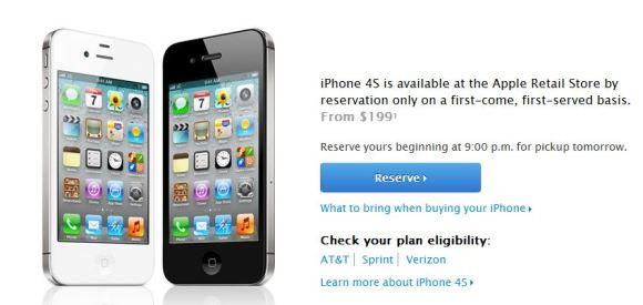 iPhone 4S prenotazione 580x275 Apple lancia il servizio per controllare la disponibilità ed effettuare prenotazioni per liPhone 4S