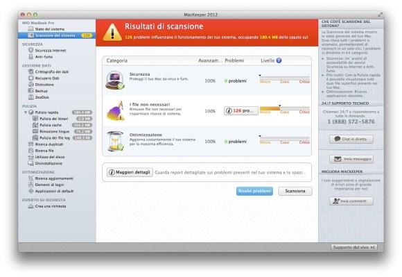 Mackeeper risultati scansione 580x399 Mackeeper, tutto quello che serve in ununica App.