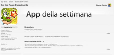 """Schermata 05 2456073 alle 08.23.13 570x274 Due nuove sezioni su App Store: """"App gratuita della settimana"""" e """"Le scelte della redazione"""""""