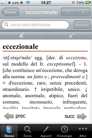 foto 2 Recensione del Dizionario dei sinonimi e contrari di Treccani per iPhone