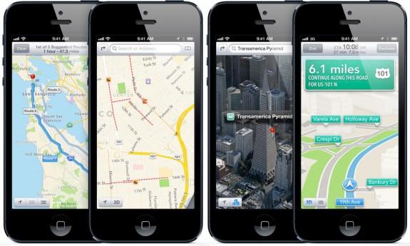 apple iphone 5 ios6 map 575x345 Lettera aperta di Tim Cook per scusarsi della qualità di Mappe in iOS 6