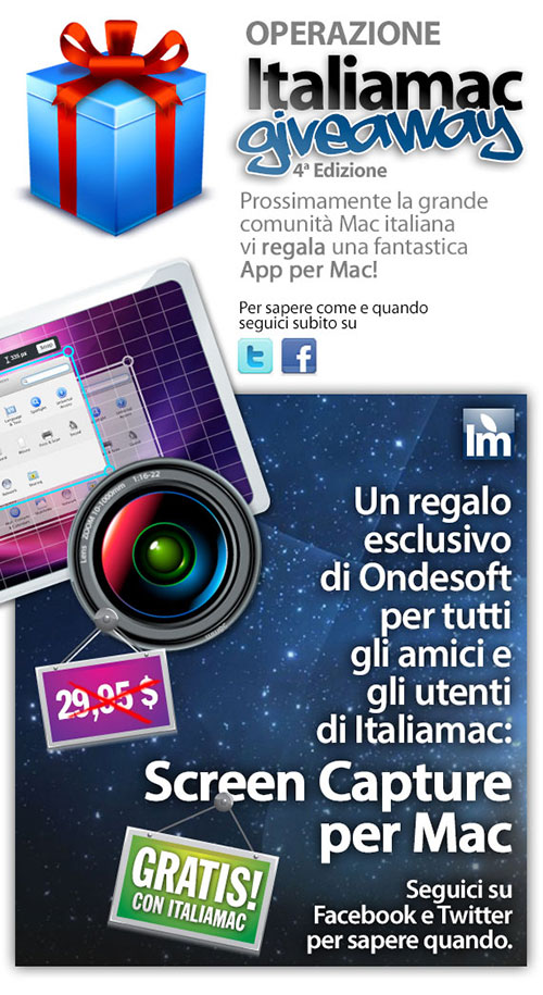 ScreemCapture presto500 Italiamac Giveaway, una fantastica applicazione professionale e completa in regalo: Screen Capture!
