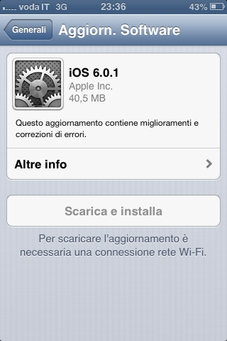 download Nuovo aggiornamento disponibile al download: iOS 6.0.1 [Link diretti]