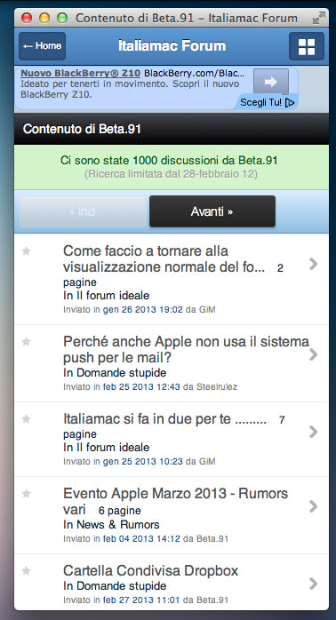 fluid italiamac Un client in realtime per Italiamac Forum su OS X grazie a Fluid