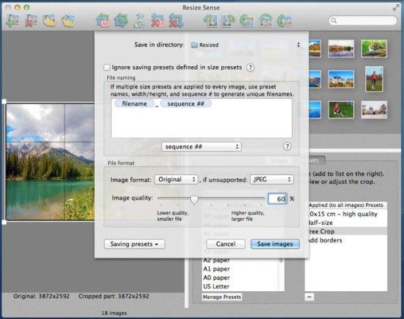 resize sense 03 580x458 Con Resize Sense per Mac ridimensionamento e trasformazione in batch diventano flessibili