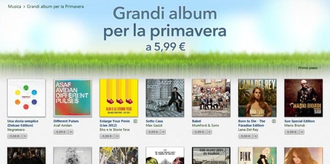 Promozione iTunes Promozione iTunes: Tanti album interi scontati a 5,99 €