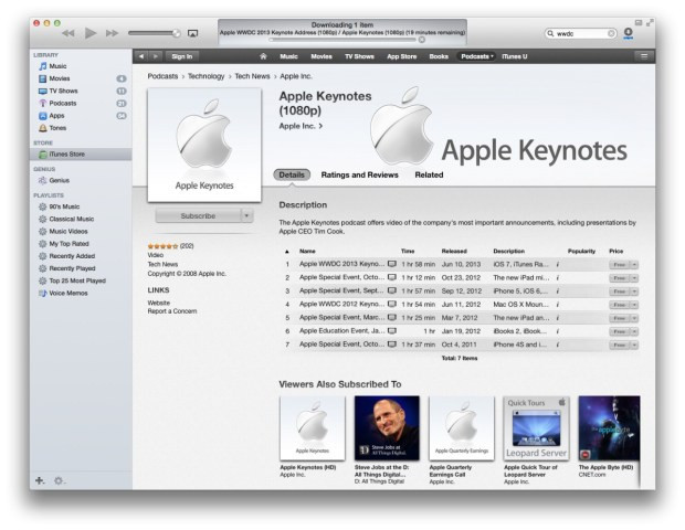 Apple Keynote 620x480 Apple rende disponibile il download del Keynote del WWDC 2013 via Podcast