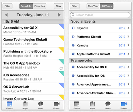 Screenshot dell app WWDC di Apple