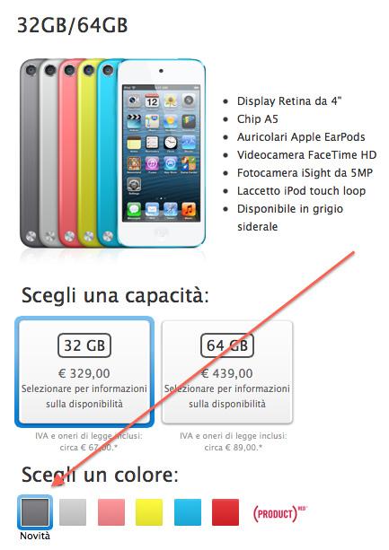 grigio siderale touch Nuovo colore alla linea iPod, arriva il Grigio Siderale