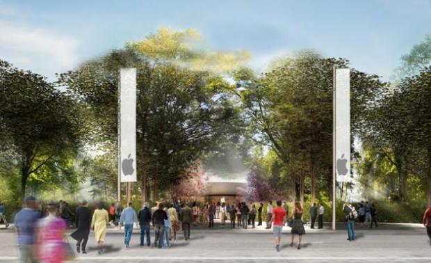 ingresso nuovo campus apple 620x378 Apple pronta al trasloco nel suo nuovo campus futuristico