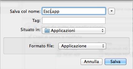 """esci app automator Mini tutorial: Creare un'applicazione con """"Automator"""" per uscire da tutte le App aperte."""