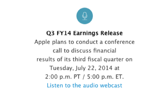 Q3 14 Apple La Call Conference di Apple dedicata ai risultati del terzo trimestre fiscale del 2014