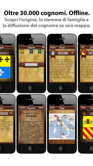 app17 iCognomi, unApplicazione con cui potrai scoprire la storia, il significato, le radici e i luoghi tipici dei cognomi