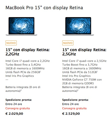 proretina Apple ha rinnovato la linea dei MacBook Pro Retina, da 13 e 15 pollici.