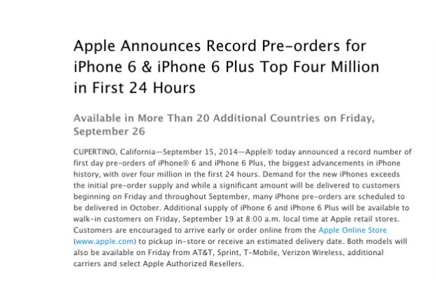 Schermata 2014 09 16 alle 17.23.57 620x401 4 milioni di iPhone 6 e 6 plus preordinati in 24 ore