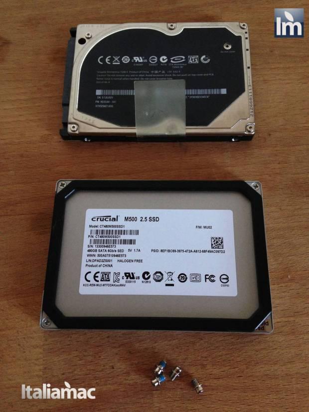 15 Crucial SSD M500 480GB 620x826 Gallery: Montaggio SSD Crucial M500 da 480 GB su MacBook Pro 17