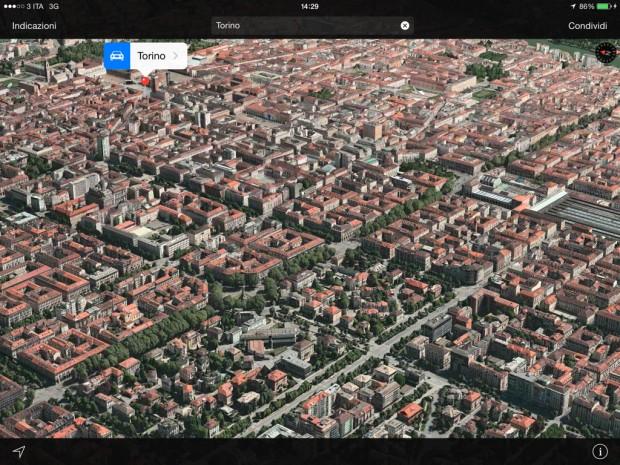 FlyOverApple 620x465 Apple aggiorna il FlyOver di Mappe con la città di Torino ed altre città europee