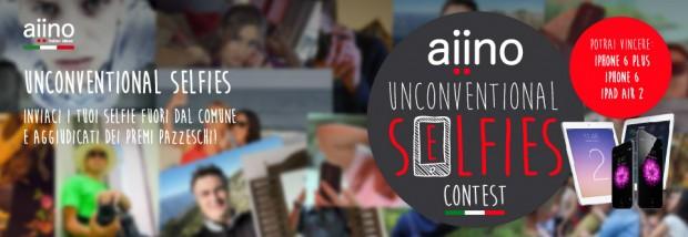 aiino2 620x214 Aiino: vuoi vincere un iPhone 6 Plus, un iPhone 6, un iPad Air 2 ? Scattati un Unconventional Selfie e partecipa al concorso!