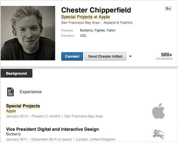 chipperfield linkedln LAzienda di Cupertino assume Chester Chipperfield di Burberry