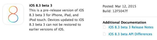 beta 8.3 rilascio 620x160 Apple rilascia iOS 8.3 la sua prima beta pubblica