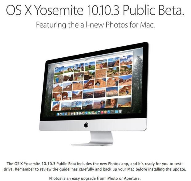 Test-drive OS X Yosemite 10.10.3 Public Beta with Photos