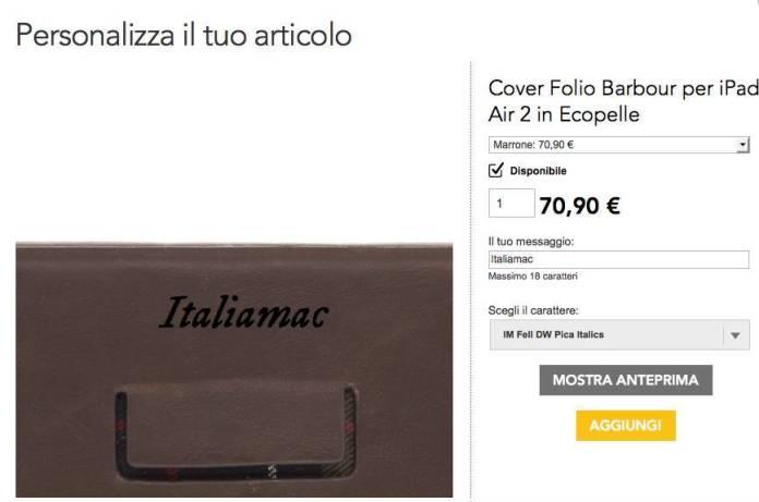 barbour proporta personalizzazione Proporta confeziona la Cover Folio Barbour in ecopelle per iPad Air 2