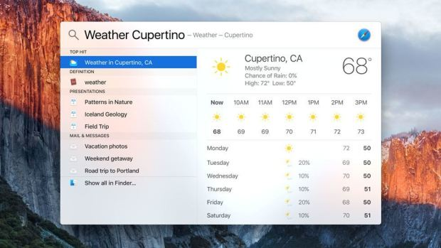 os x el capitan spotlight 620x349 Apple annuncia OS X El Capitan