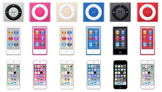 ipod 2015 colors Apple potrebbe essere pronta a svelare i nuovi iPod Touch, Nano e Shuffle la prossima settimana