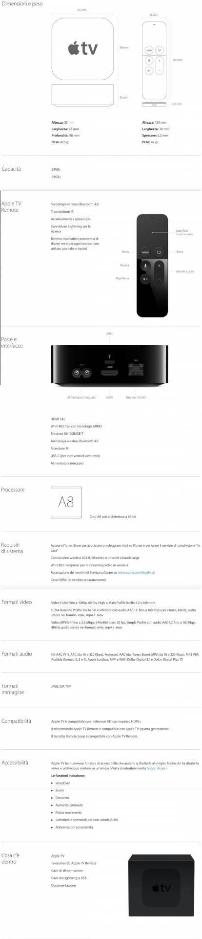 apple tv spec Le 4 caratteristiche della nuova Apple TV racchiuse in un articolo