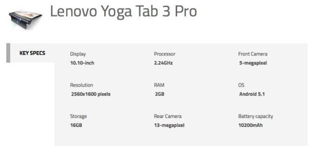 Yoga Tab 3 Pro Spec