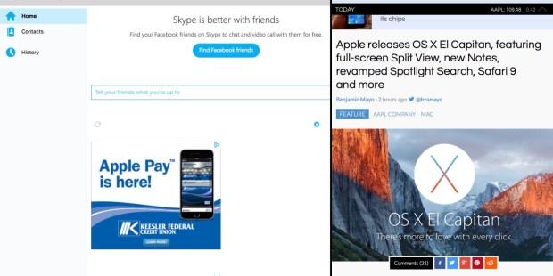 Skype OS X El Capitan Split View