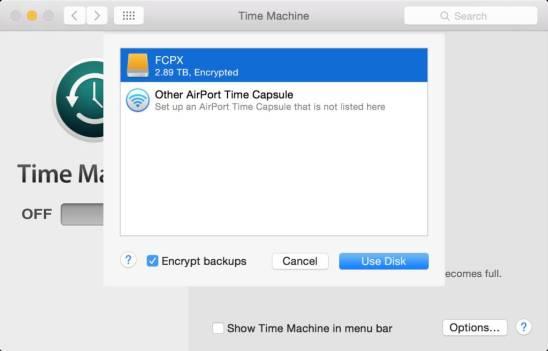 time machine select disk 1024x656 Come criptare i backup effettuati con Time Machine