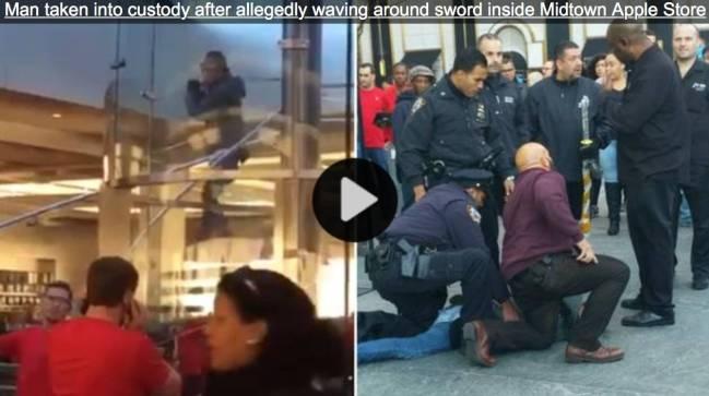 schermata 2015 11 21 alle 09.47.24 Uomo armato di Katana entra nellApple Store di New York, arrestato