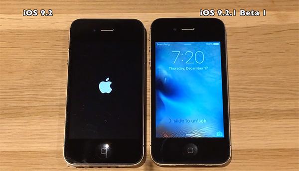 iphone 4s ios 9.2 vs ios 9.2.1 beta 1 iOS 9.2.1 beta 1 testa a testa ad iOS 9.2 per un test di velocità