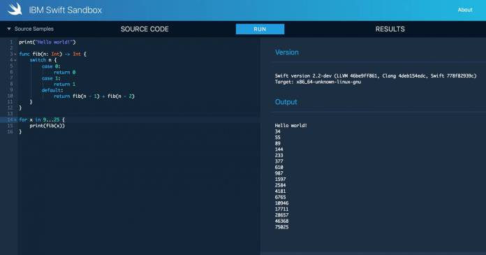 screen shot 2015 12 04 at 14 05 41 Scrivere codice Swift in Browser Web? Da oggi è possibile con la IBM Swift Sandbox